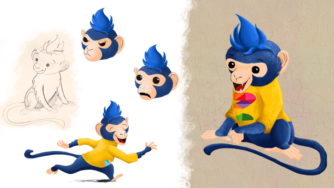 DigitalKidZ Imagination board game character design - Monkey