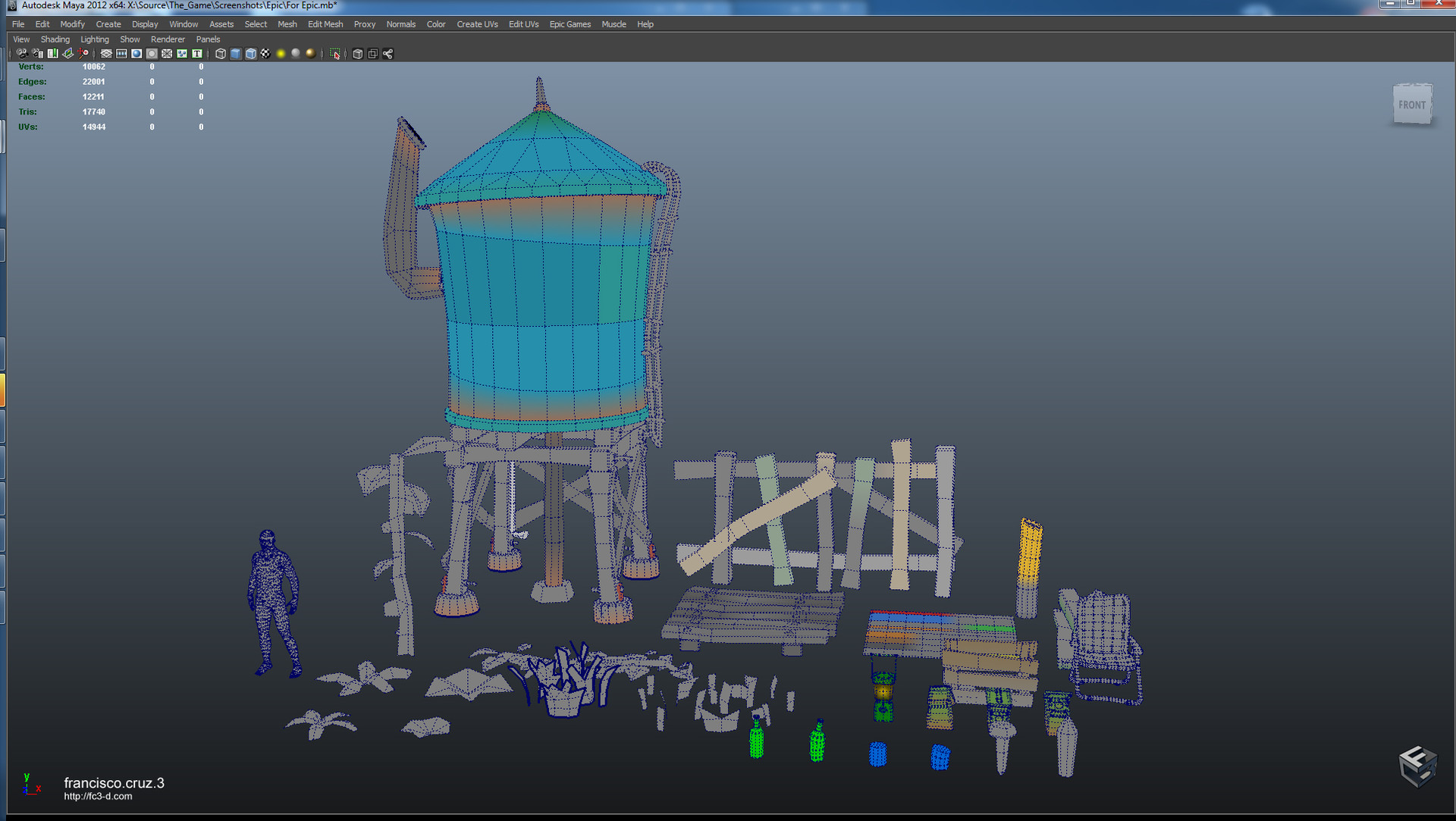 All assets as seen in Maya. Vertex coloring part of static mesh. Can be overridden in UE4 for more color variations.