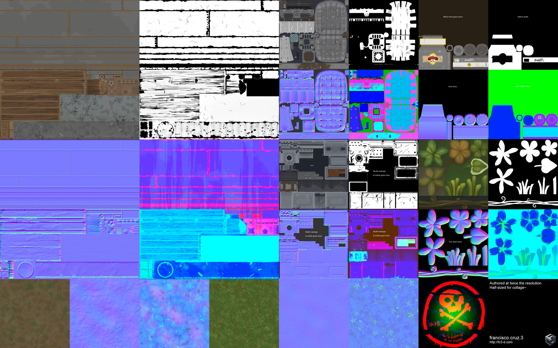 Collage of textures used. Main tower textures at 1024 x 1024 x 3 (Base color + mask in its alpha channel, normal, & RGB pack to control metal, roughness, and ambient occlusion). Props using a 512 x 512 x 3.