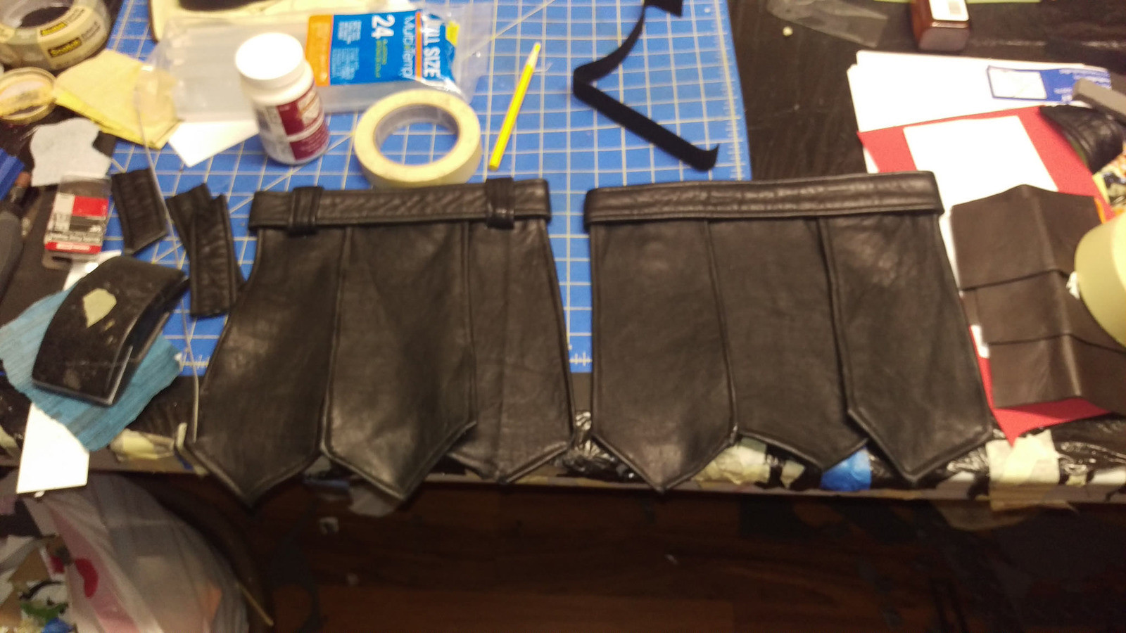 Made a Goodwill trip to gather old leather pieces (boots, jackets, handbags). They were dismantled, then made into the loincloth.