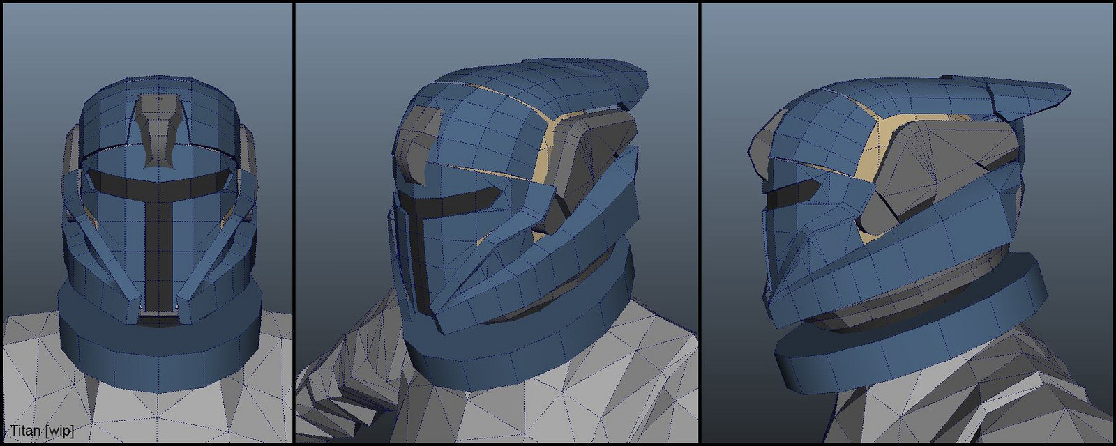 Blocked the helmet in Maya.