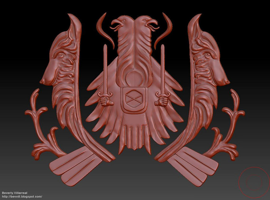 For the crest, Bev quickly sculpted something in Zbrush.