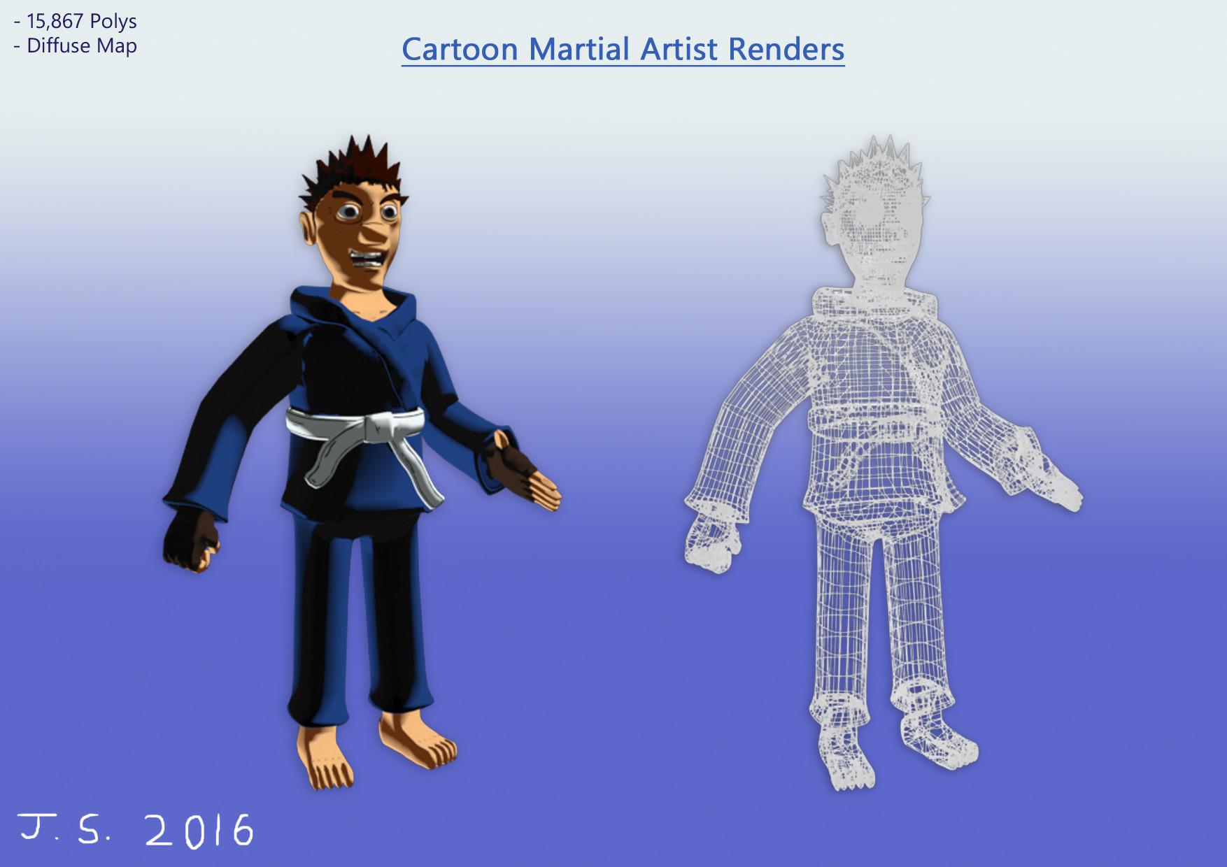 James skinner cartoon martial artist renders