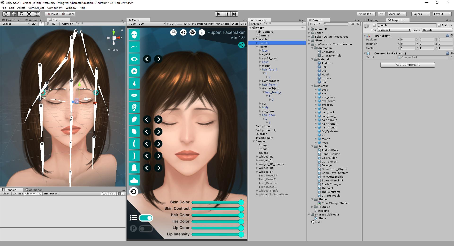 ArtStation - [Unity] [Mobile] 2D Character Face Maker, Ming