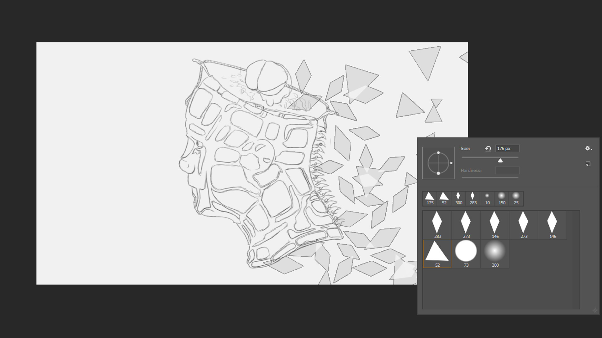 """Here I was testing my polygonal brushes for the """"Lowpoly"""" effect that I wanted for the image"""
