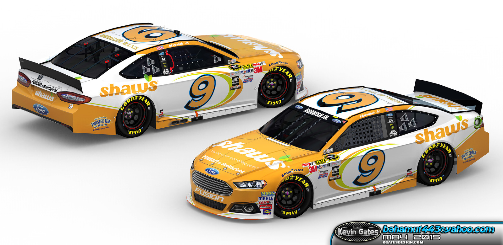 Original Autodesk 3DS Max render of the finalized 2015 #9 Shaw's Supermarkets Ford Fusion driven by NASCAR Sprint Cup Series driver Sam Hornish Jr. of Richard Petty Motorsports