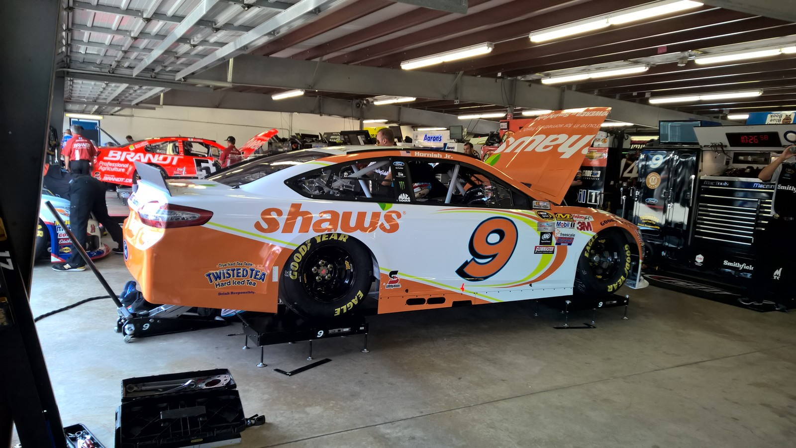 The #9 crew prepping the Shaw's Supermarkets Ford Fusion for an upcoming practice session at New Hampshire Motor Speedway on July 17th, 2015.