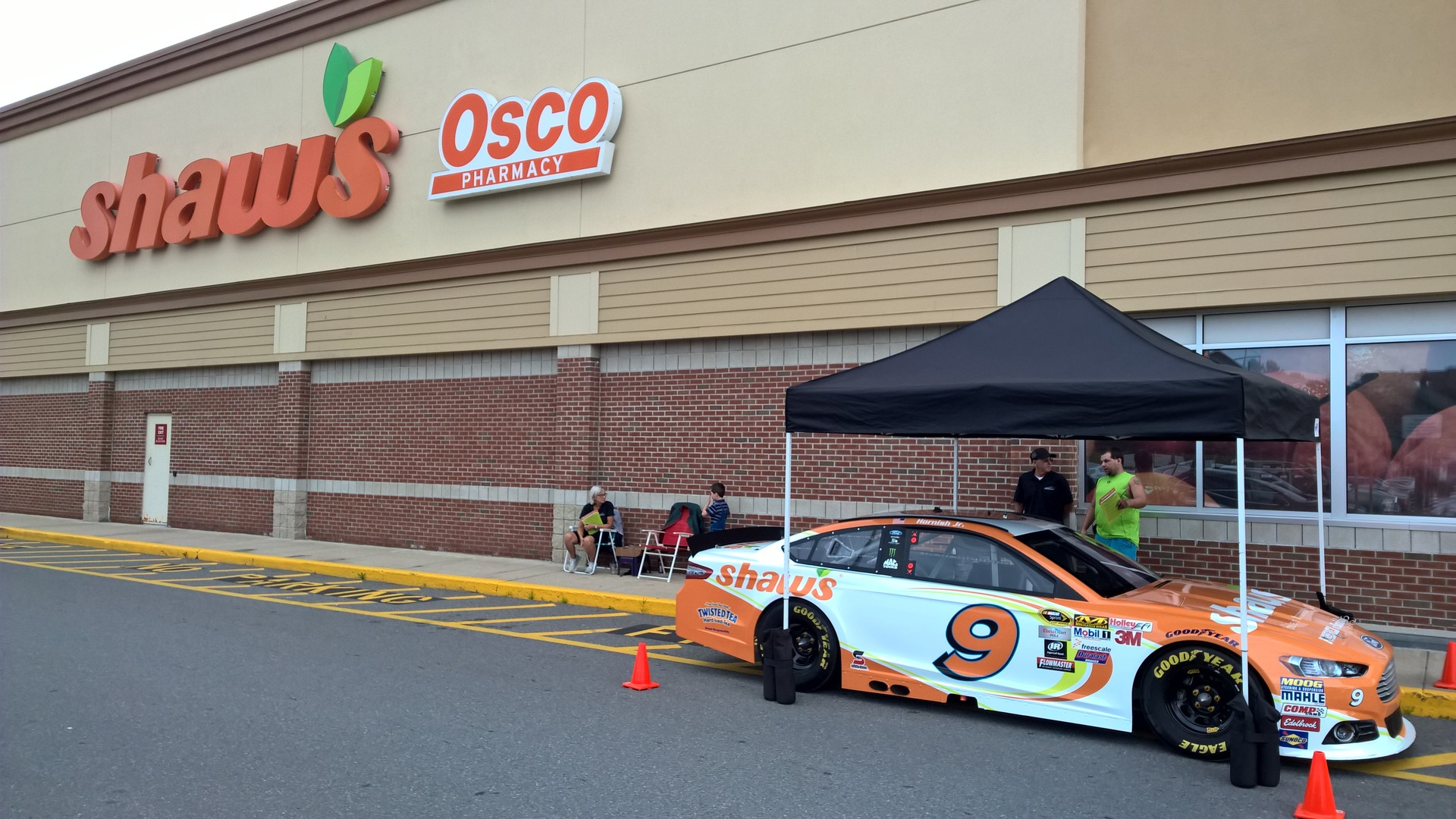 The #9 Shaw's Supermarkets Ford Fusion on display during an appearance event at Shaw's of Concord, New Hampshire on July 18th, 2015.