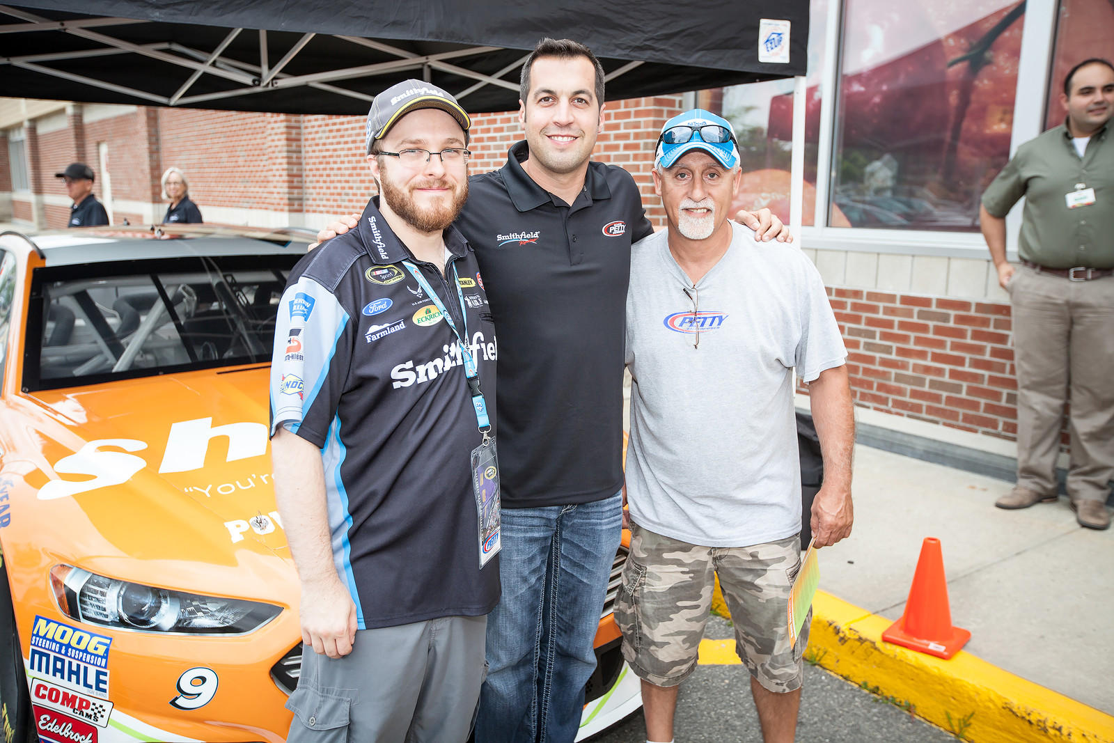 Posing with the #9 Shaw's Supermarkets Ford Fusion and NASCAR Sprint Cup Series driver Sam Hornish Jr. during an appearance event at Shaw's of Concord, New Hampshire on July 18th, 2015.