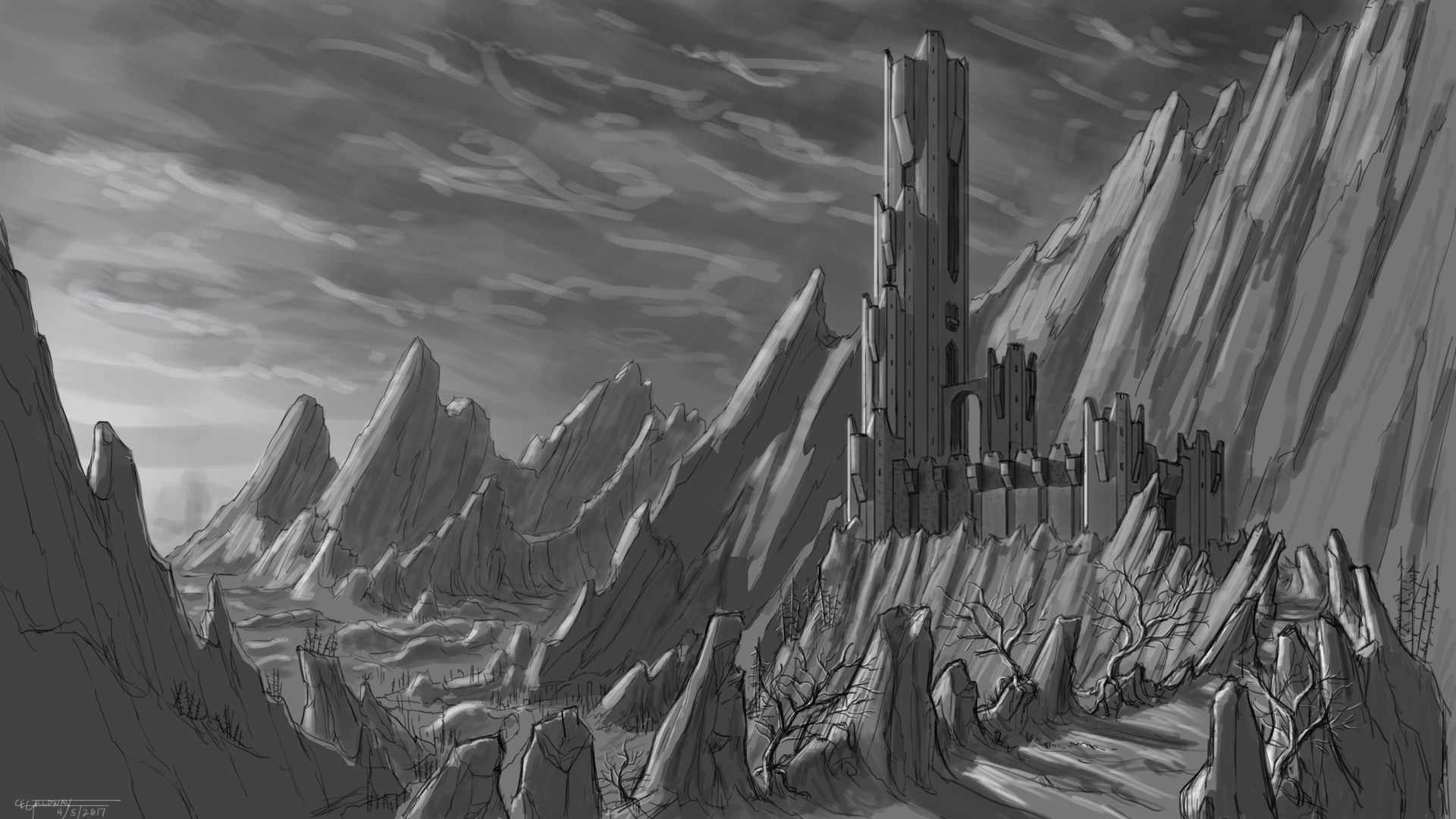 C E Galloway Dark Tower Sketch