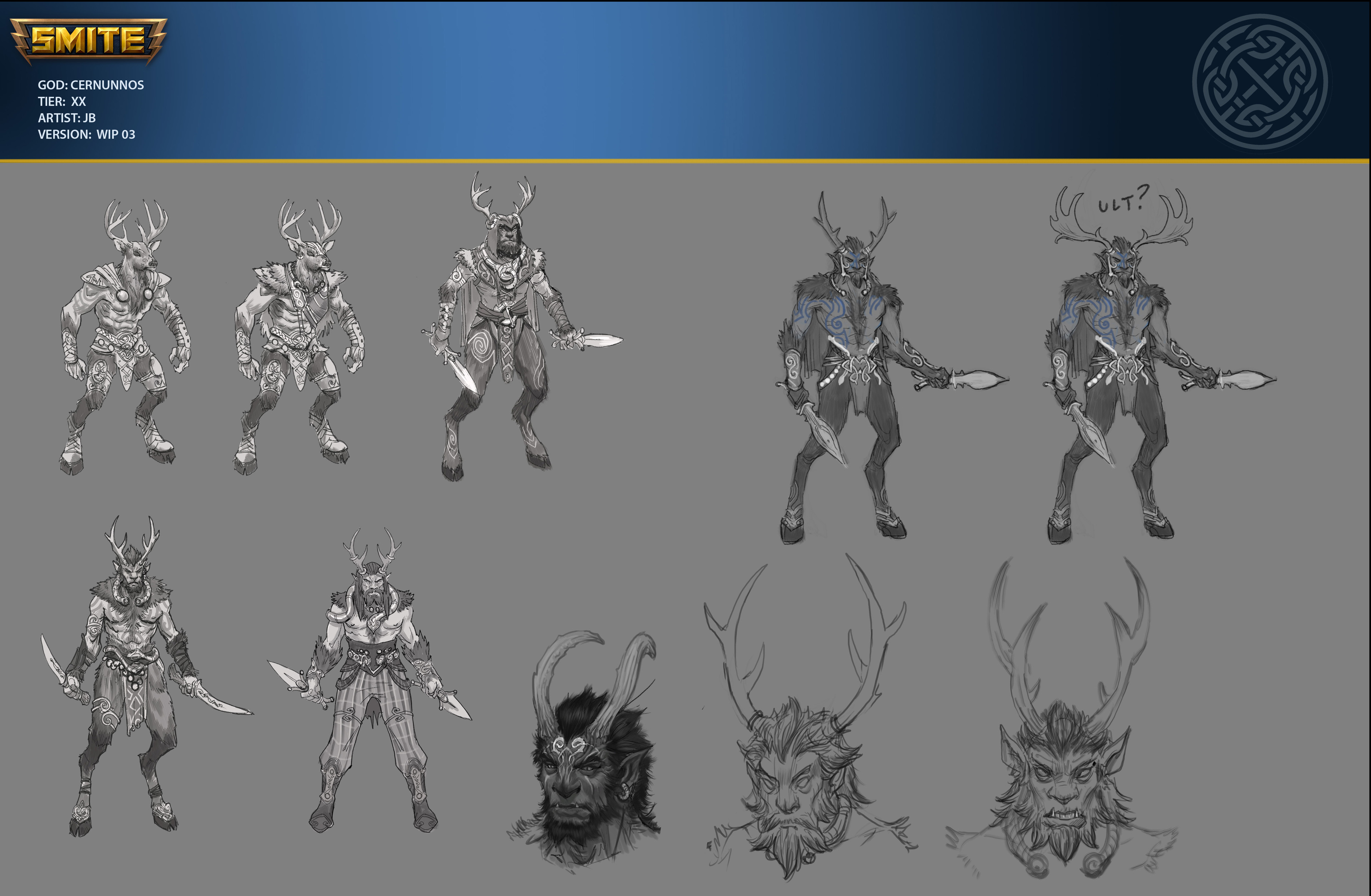 Early sketch iterations for Cernunnos