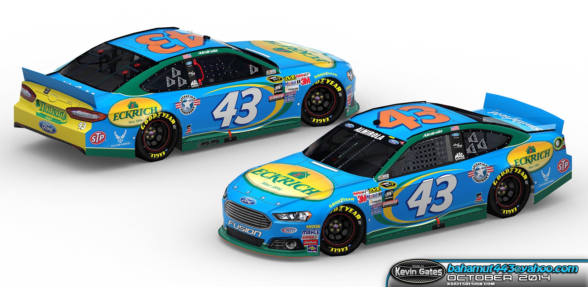 Original Autodesk 3DS Max render of the finalized 2015 #43 Eckrich Ford Fusion driven by NASCAR Sprint Cup Series driver Aric Almirola of Richard Petty Motorsports