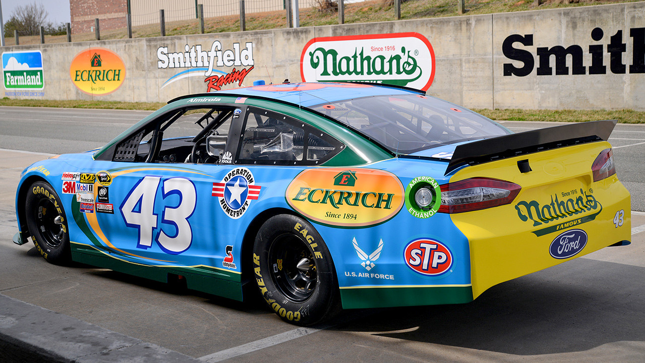 The 2015 #43 Eckrich Ford Fusion on display during a Smithfield investors event at Richard Petty Motorsports in Mooresville, NC on May 12th, 2015. (Photo credit: Brad Schloss Photographic, Smithfield Foods)