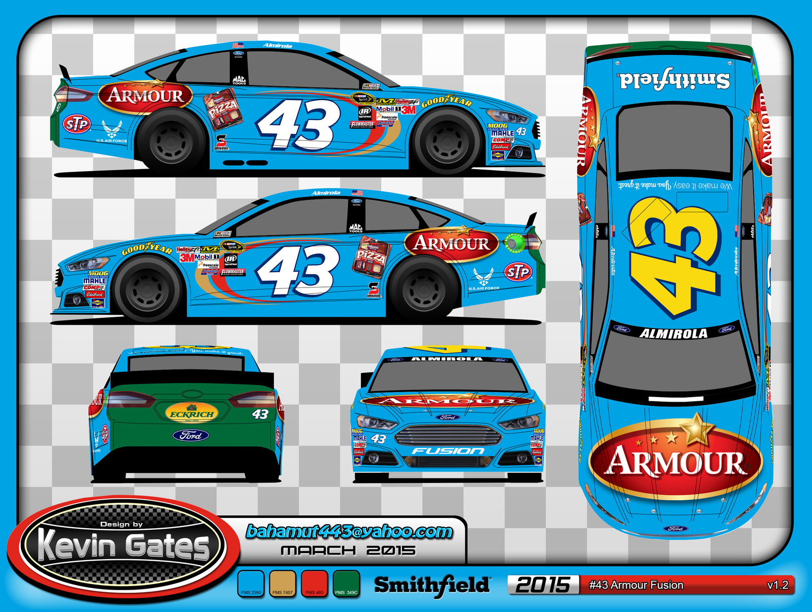 Original vector art of the 2015 #43 Armour Ford Fusion