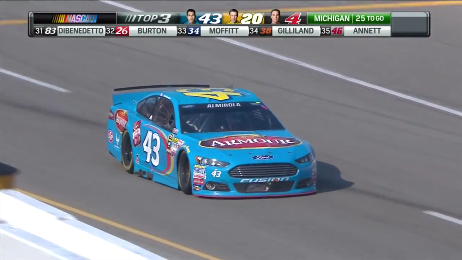 Almirola pitting the #43 Armour Ford Fusion. Screen capture from NBC's live broadcast of the Pure Michigan 400 on August 16th, 2015. (Credit: NBC Sports)