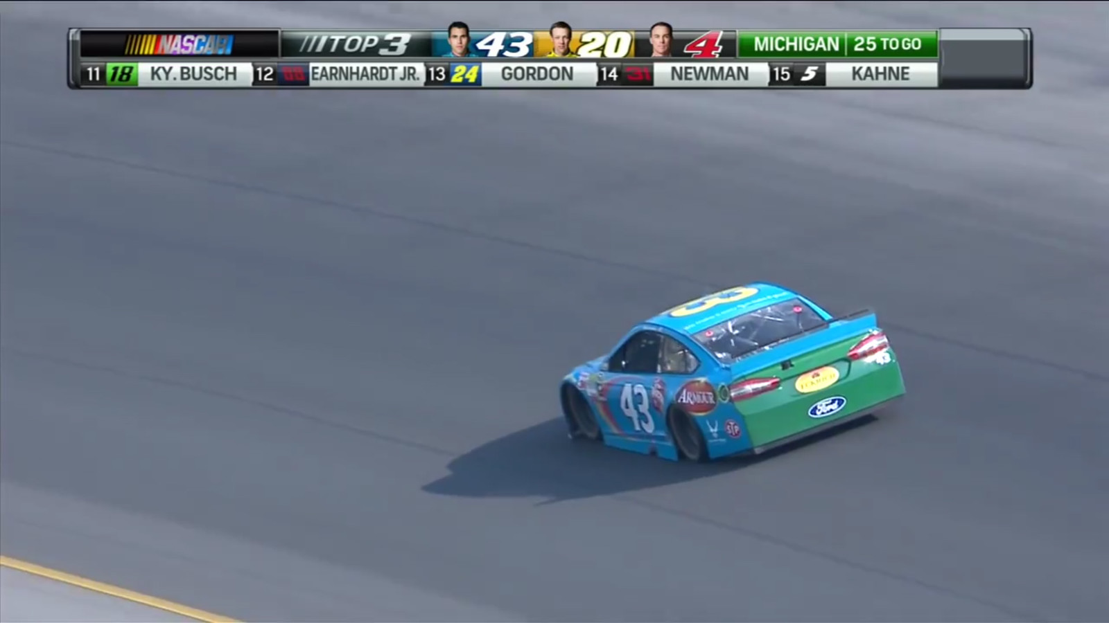 Almirola leading the field at Michigan International Speedway. Screen capture from NBC's live broadcast of the Pure Michigan 400 on August 16th, 2015. (Credit: NBC Sports)