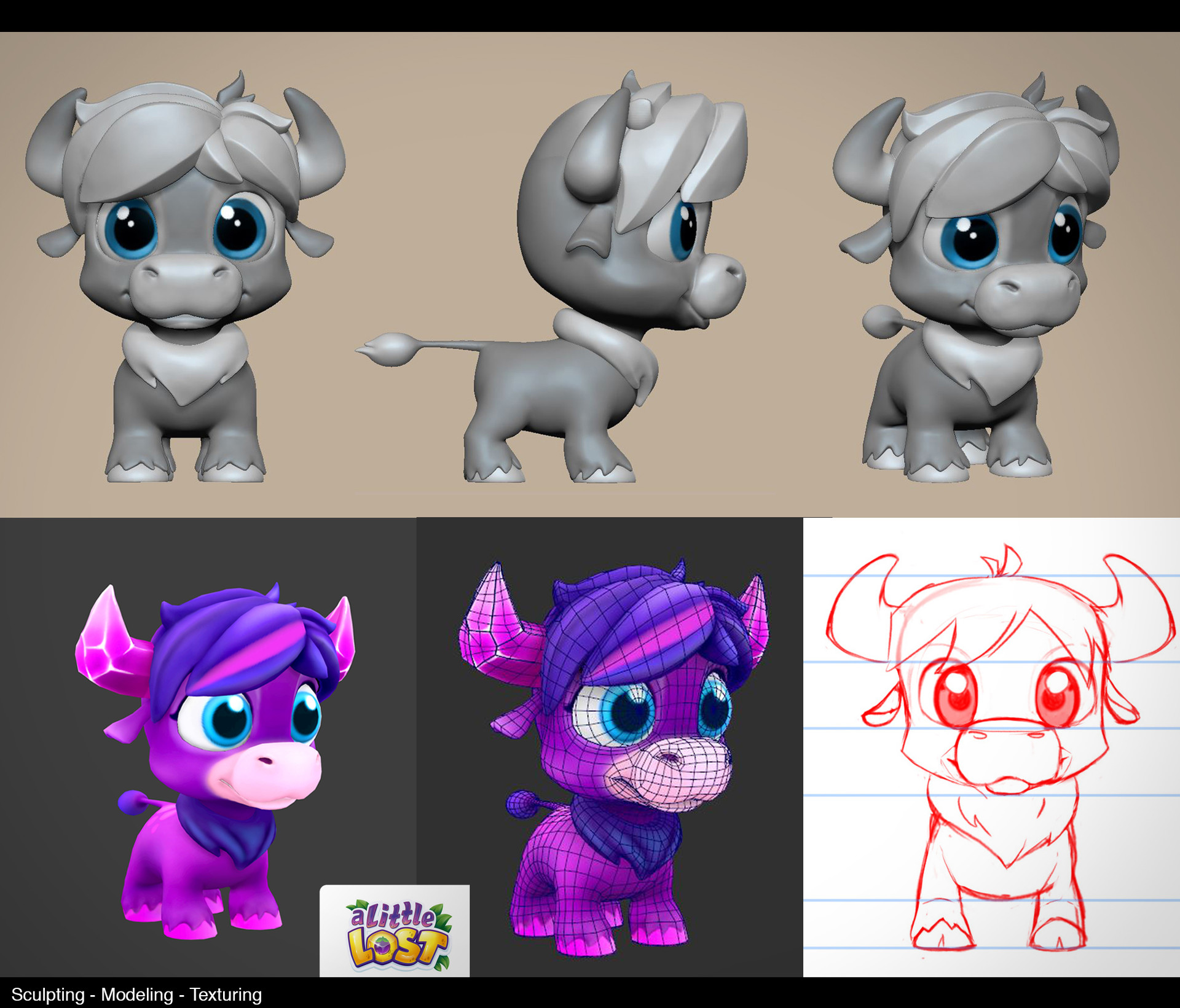 LowPoly + Sculpt of Character for Game