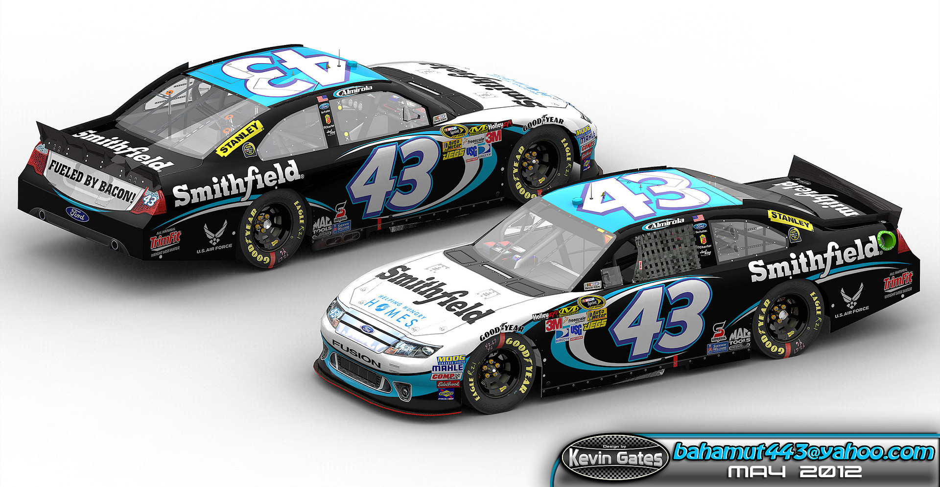 Original Autodesk 3DS Max render of the finalized 2012 version of the #43 Smithfield Ford Fusion driven by NASCAR Sprint Cup Series driver Aric Almirola of Richard Petty Motorsports