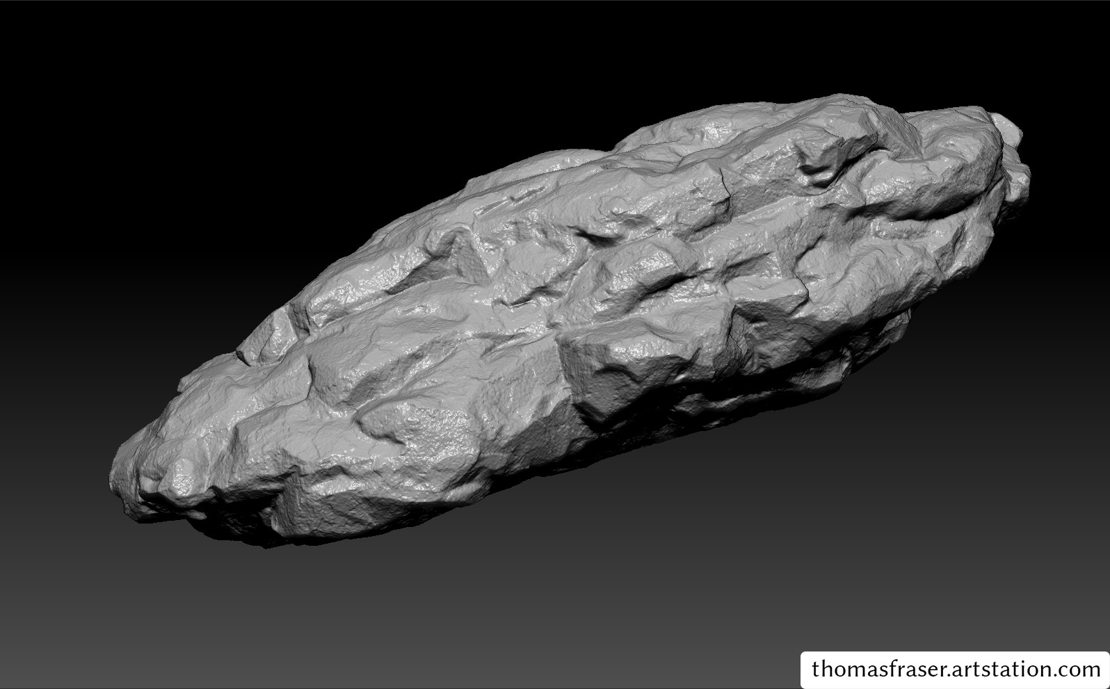 ZBrush high poly model for the dark wet rock. I went through 3 or 4 different iterations of the rock until I had something I was happy with.