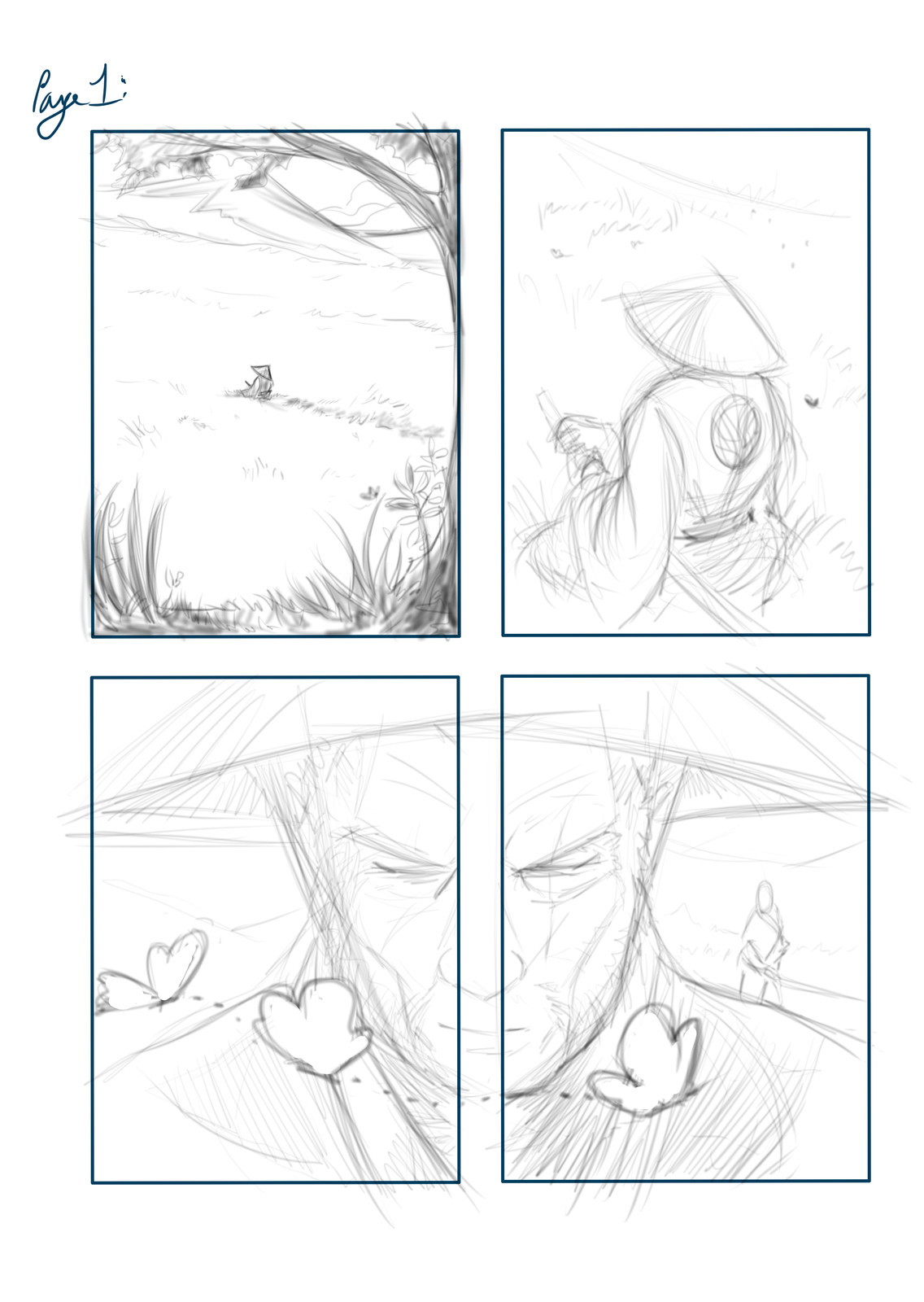 Pencil layout for Page 01, using Mischief