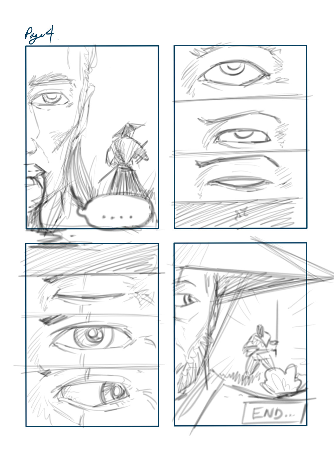 Pencil layout for Page 04, using Mischief