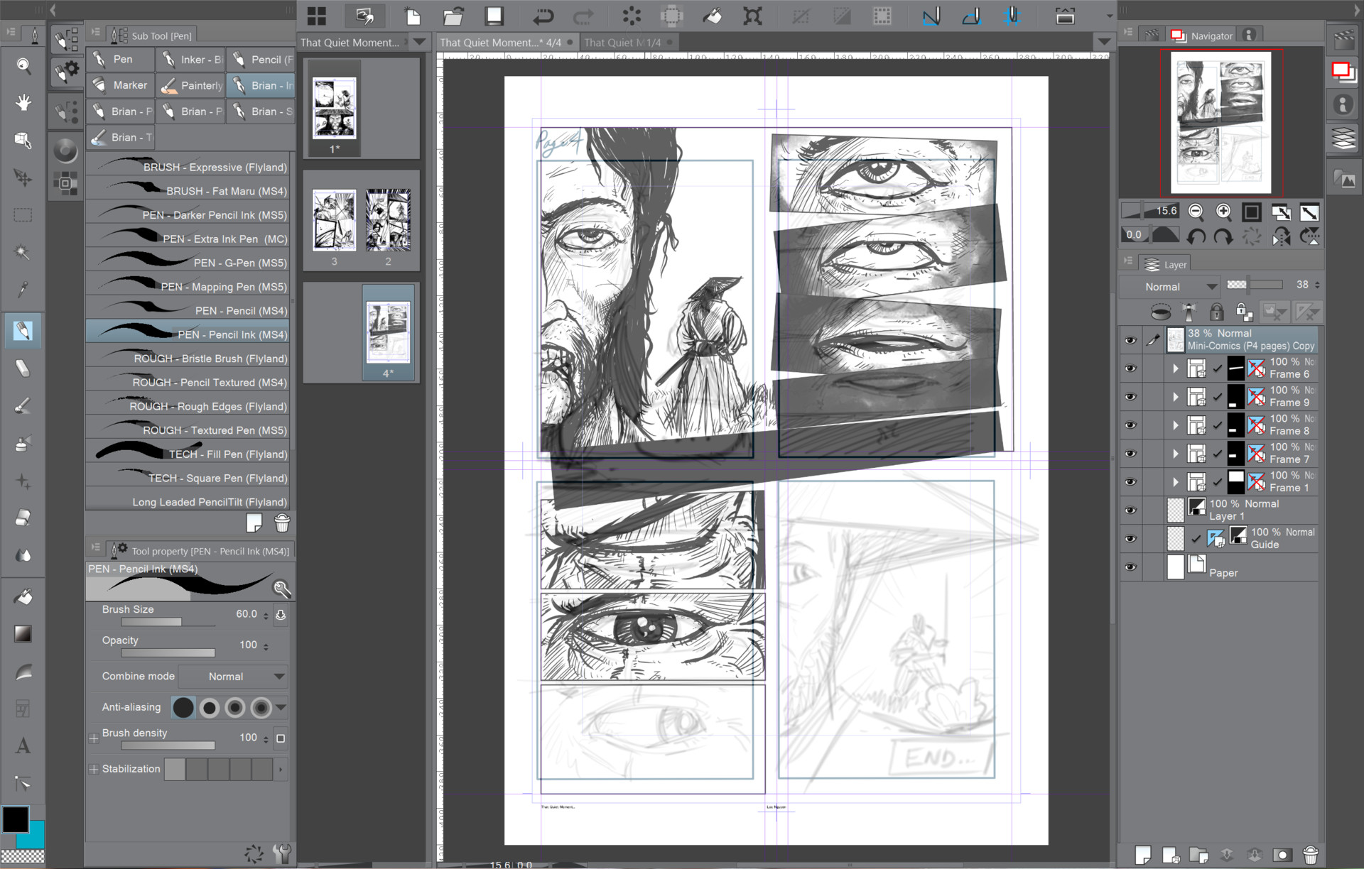 Inking each frame and adjusting the pacing for each page layout.