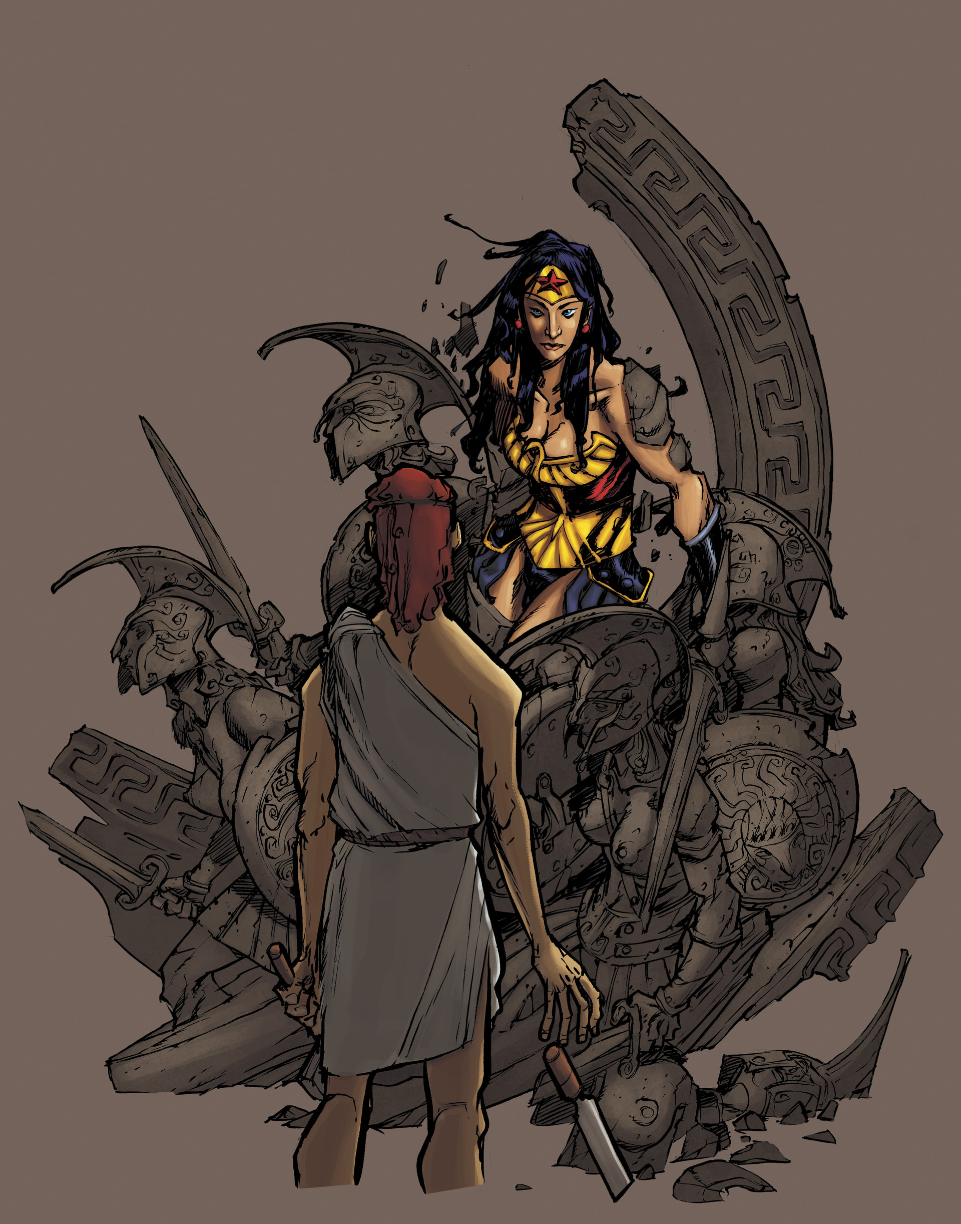 Lorenzo stello wonderwomanbasrelief b w full jpg