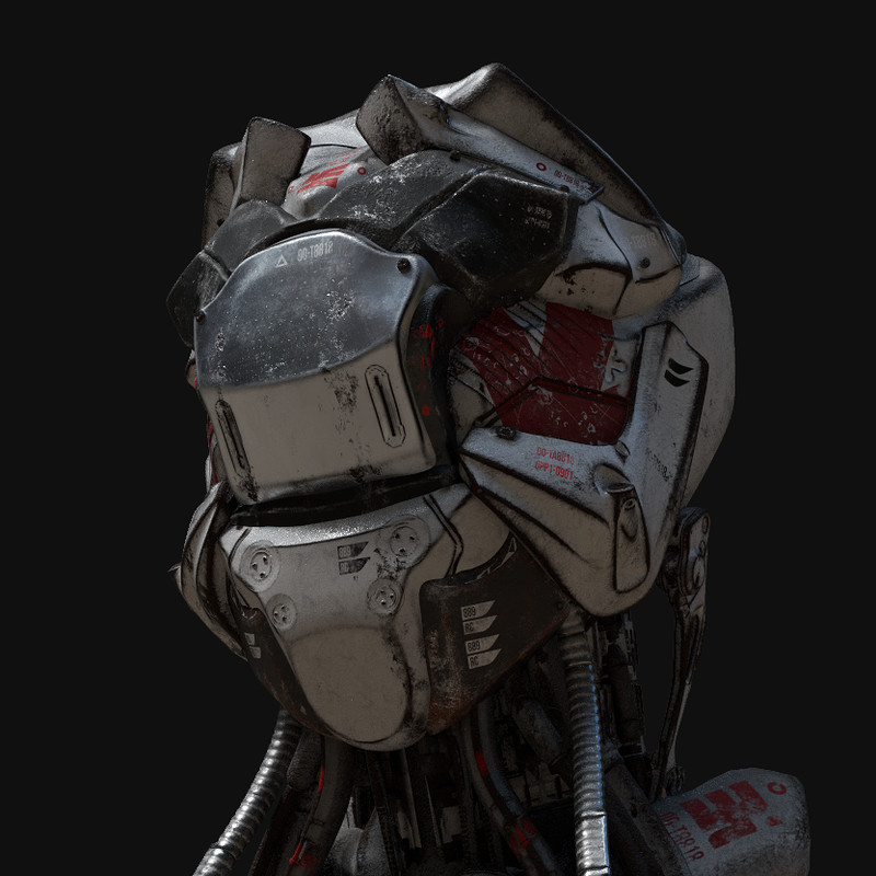Futuristic robotic Japanese medic bust
