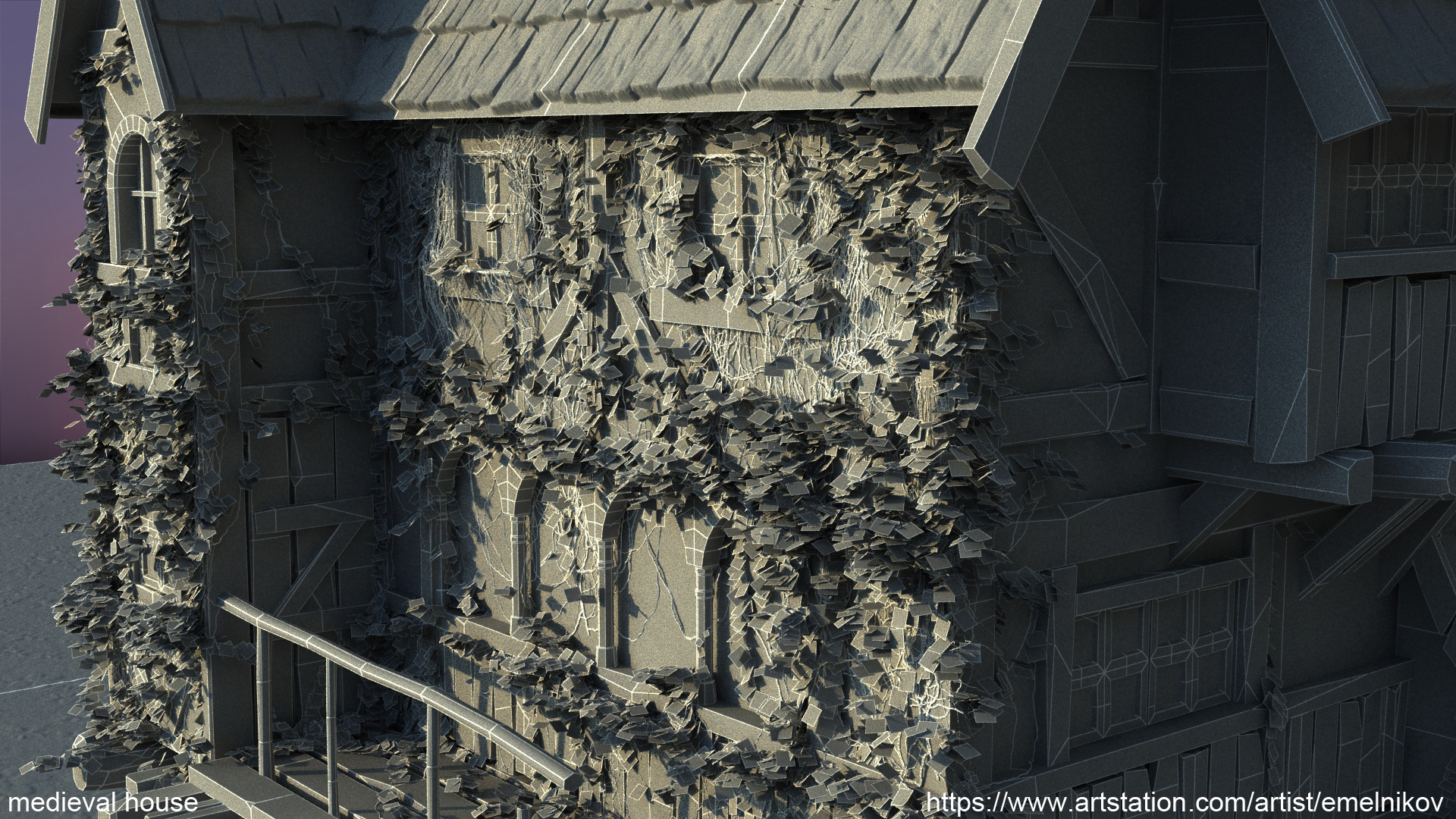 Eugene melnikov medieval house1 render frm1 wire