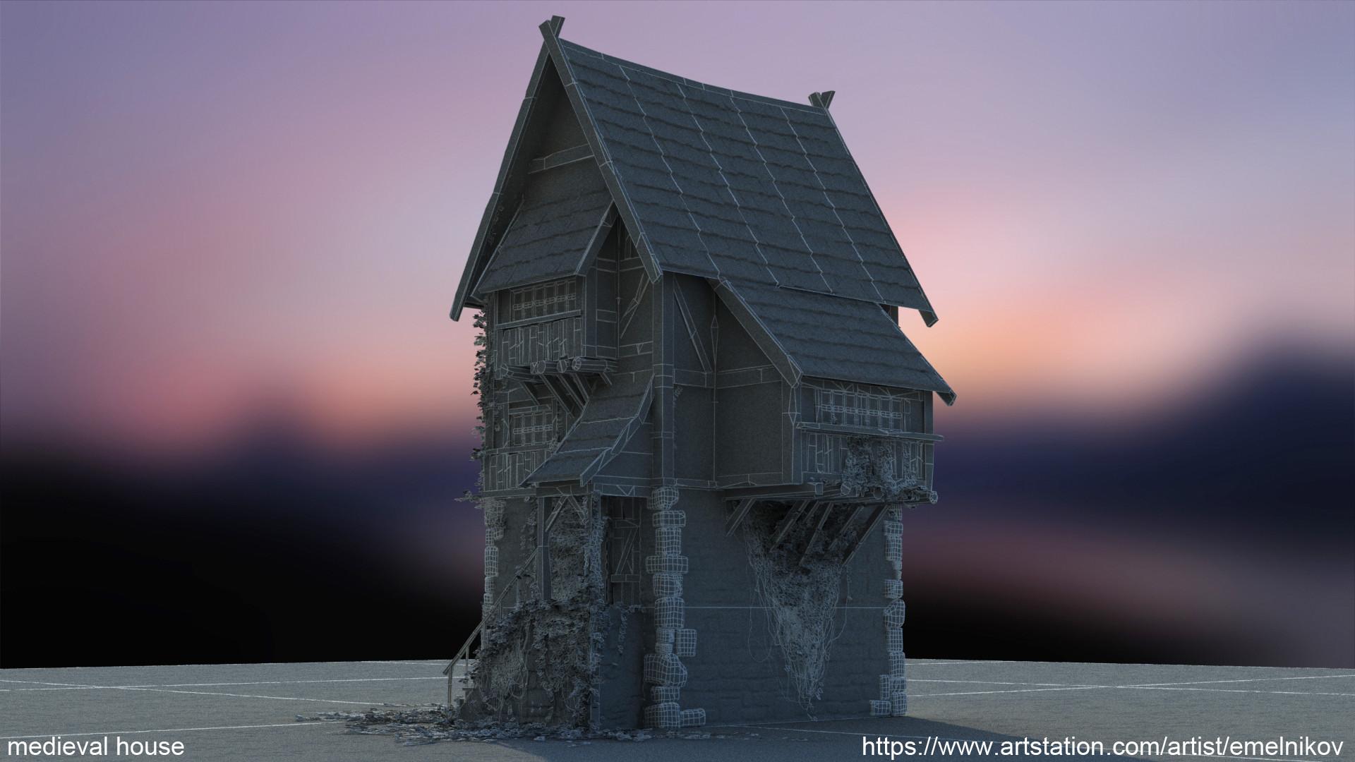 Eugene melnikov medieval house1 render frm5 wire