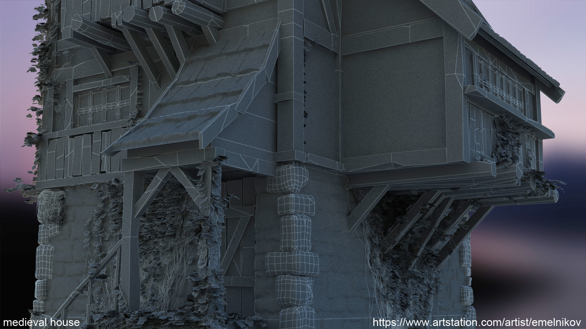 Eugene melnikov medieval house1 render frm13 wire