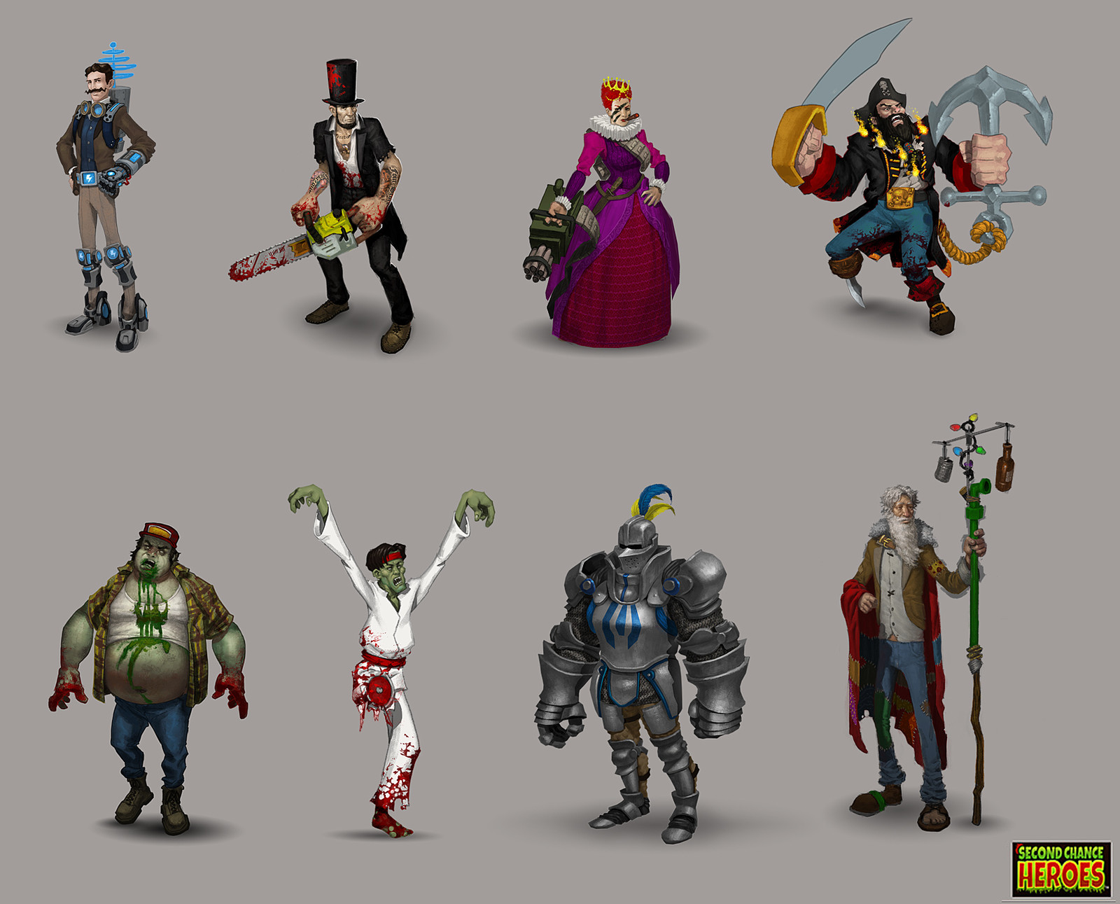 2nd Chance Heroes - mobile game concept art. Yes, that is Lincoln with a chainsaw.