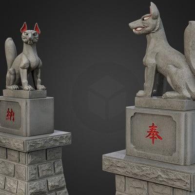Vlx kuzmin two kitsune from inari shrine