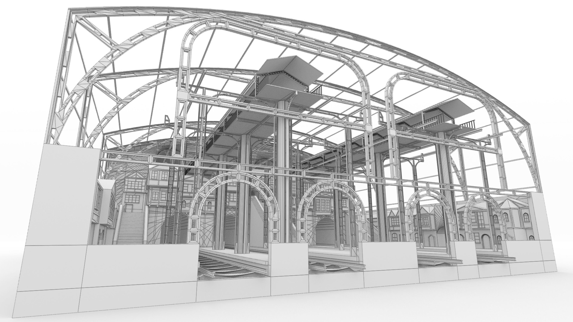 Triston beadle train station 01 wire frame