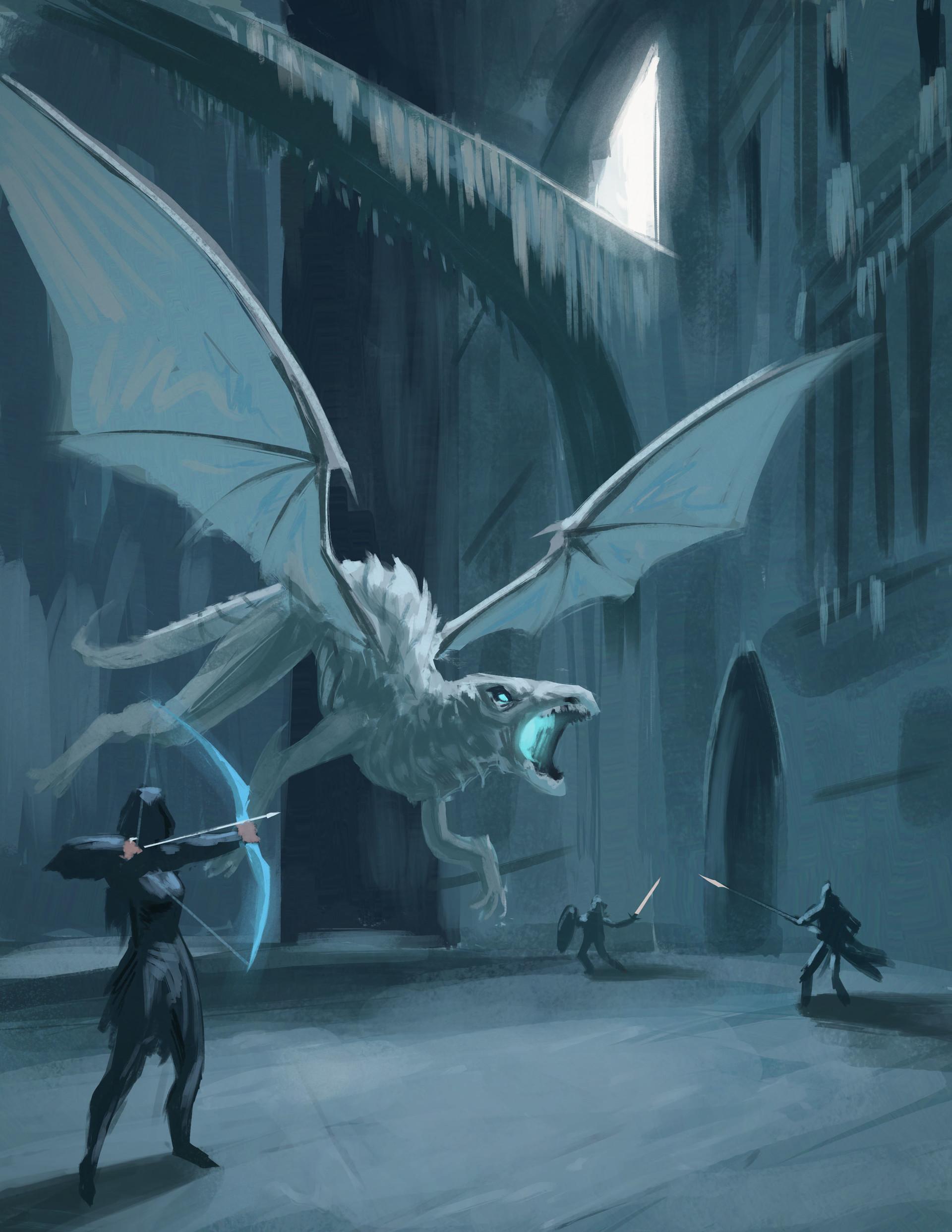 artstation white dragon william montalvo