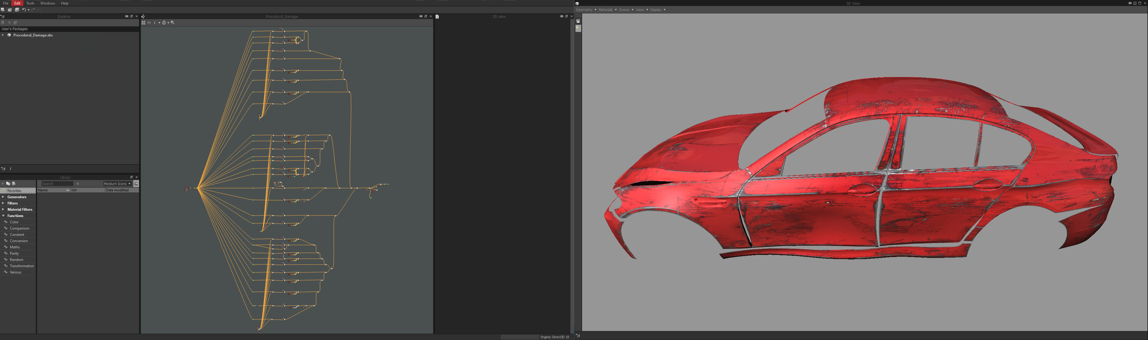 The procedural damage tool was developed using Allegorithmic Substance Designer. The tools main brief was to automate what would take an Artist a day creating, into a simple button press. The tool ran in 3DSMax with a user simple interface.