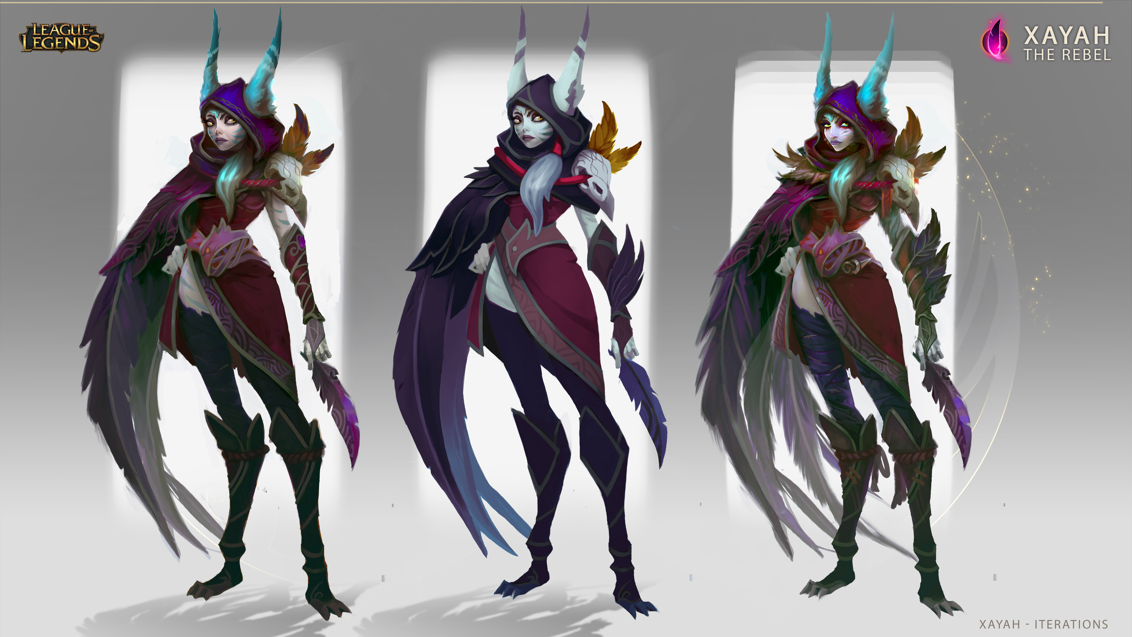 Different iterations I did for Xayah before the final one.