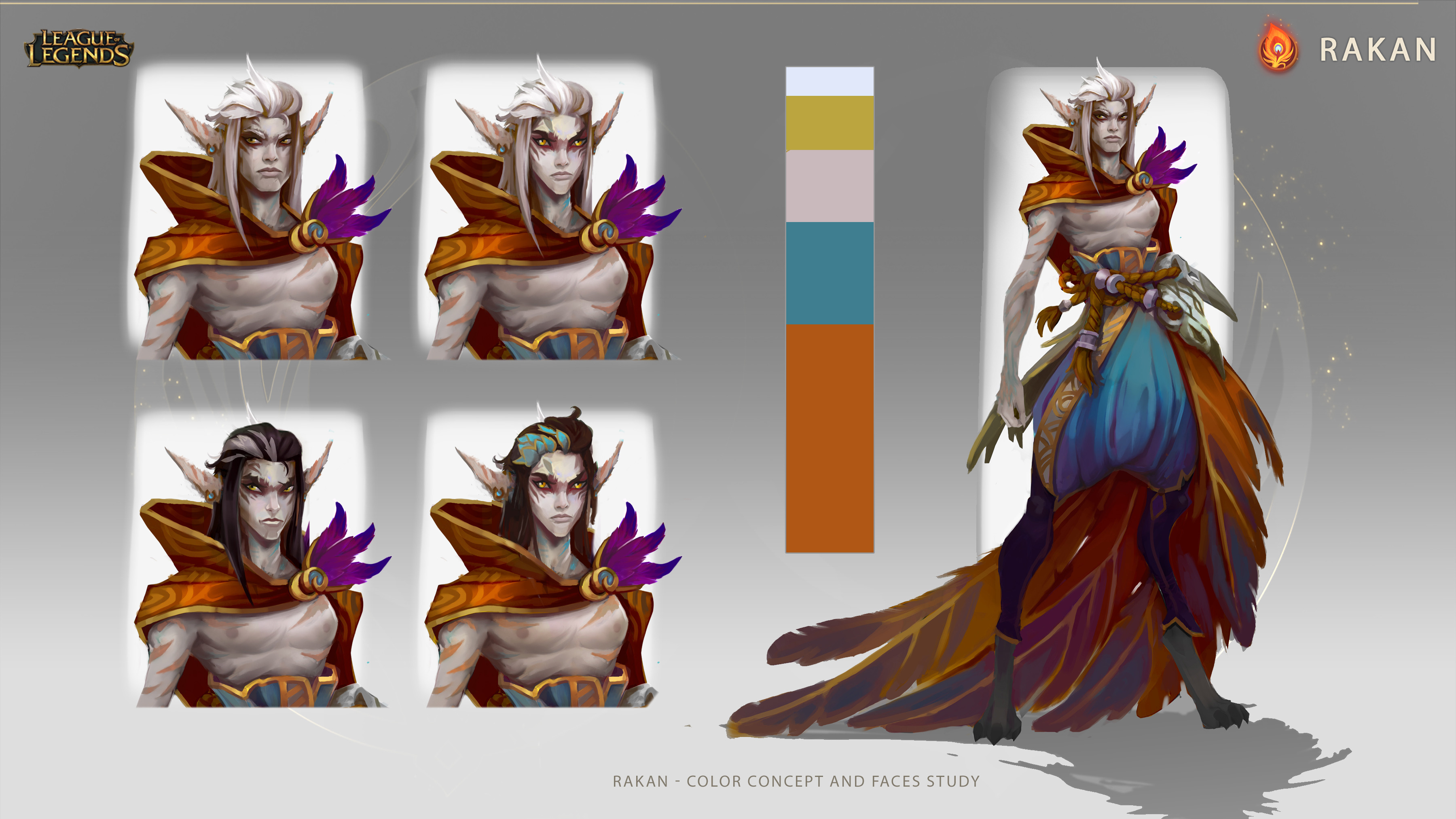 Some faces iterations for Rakan and exploring his color palette.