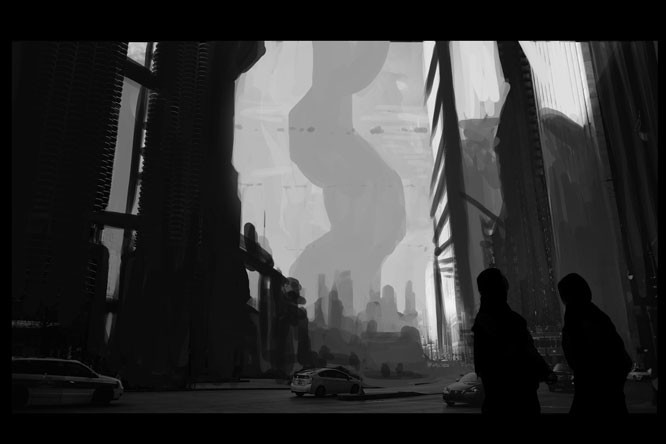 In the Initial thumbnail I'm making sure the composition works and the shapes has a clear read, if I fail here the whole thing will go bunkers later...