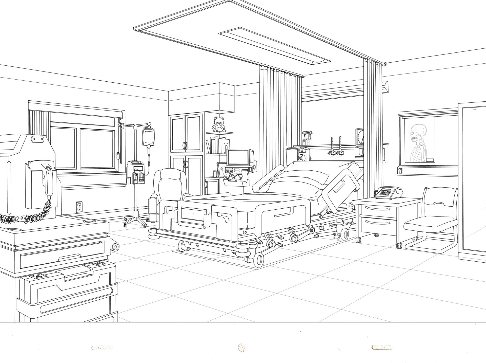 artstation hospital room chris guo rh artstation com Sketch Busy Hospital Hospital Interior Sketch