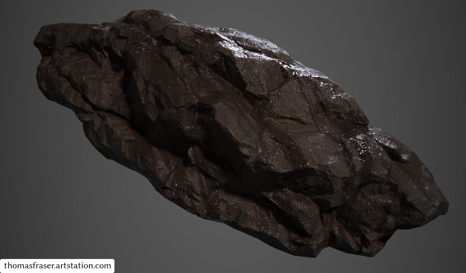 Dark, wet rock.