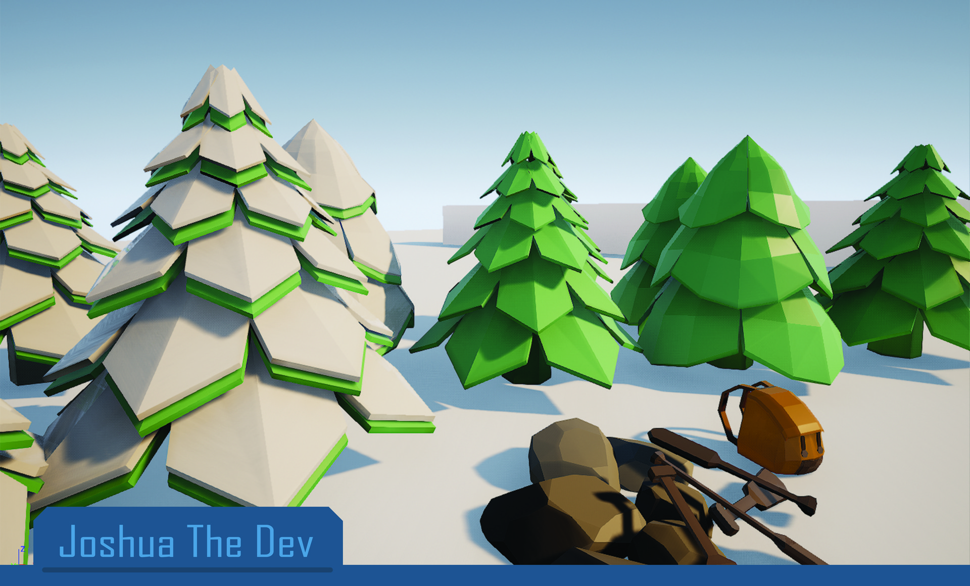 Hotel Dev Conifers Green Artstation Stylized Low Poly Environment Props Josh Garcia