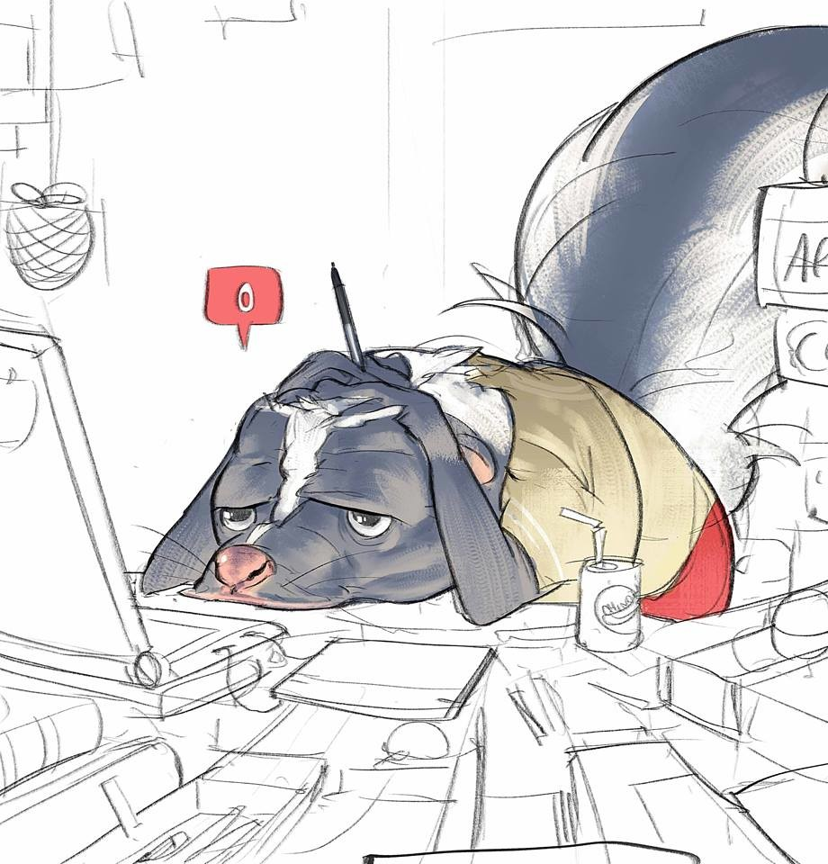 """""""Skunks don't always stink"""" Drawmybeast  Sometimes we have this idea """"if we don't receive powerful feedback it means that our art is bad"""" that is bullshit, just keep working guys"""