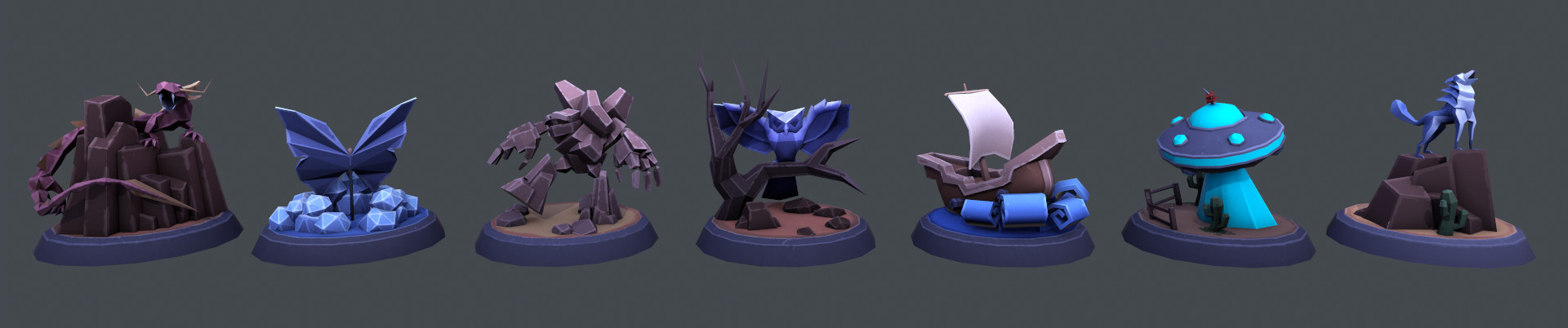Trophies. (Creature Base models by Luke Owen except Wolf and UFO)
