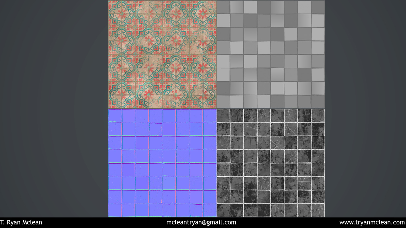 Cuban-inspired Wall tile texture flats. Albedo, Height, Normal and Roughness.