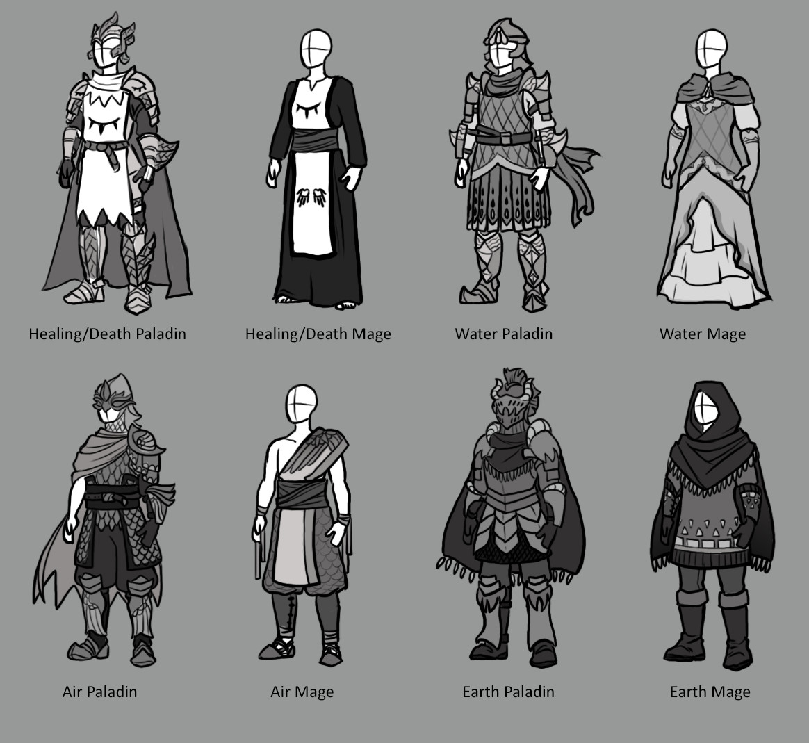 Armor and uniforms of the mage academies.