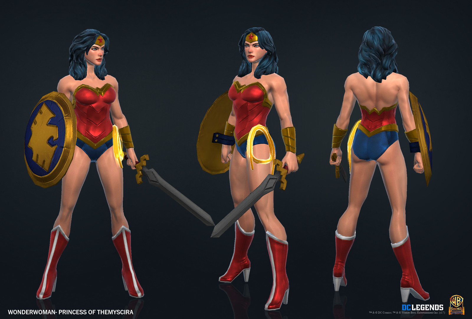 Wonder Woman Heroic High Poly, Low Poly Textures/Material work done by me. Sword and Shield created by Rachelle Danielle.