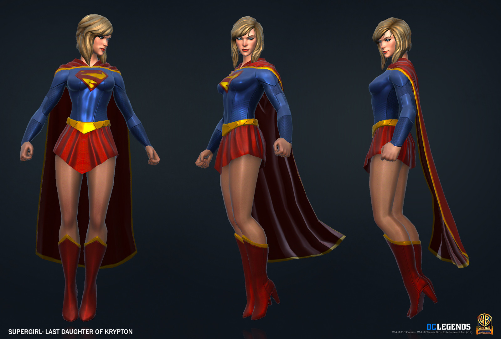 Supergirl Heroic High Poly, Low Poly and Textures/Material work done by me. Additional Texture/Material pass done by Josiah Martinez.