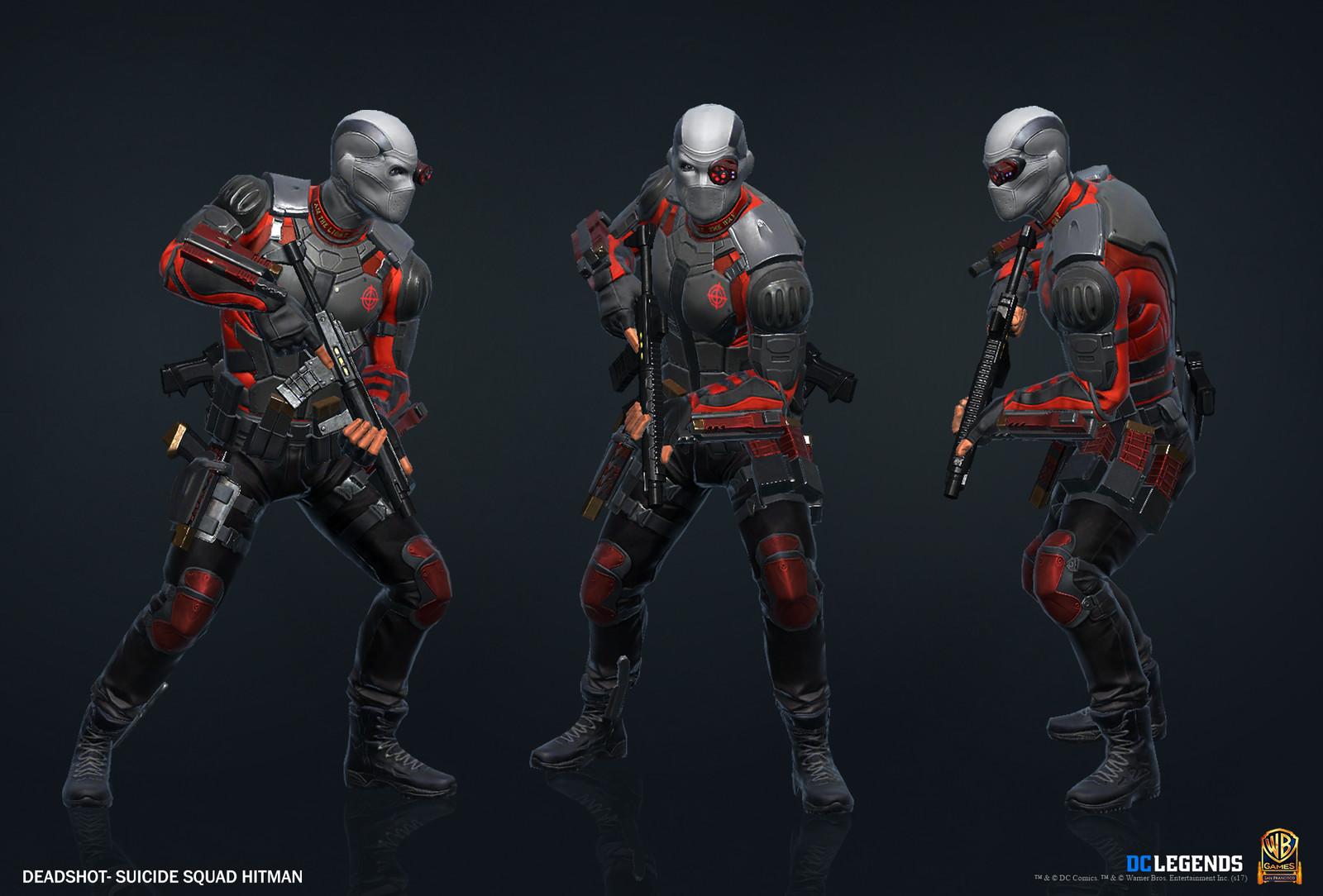 Deadshot Suicide Squad Heroic High Poly, Low Poly Textures/Material work done by me. Additional Texture/Material pass done by Rachelle Danielle.