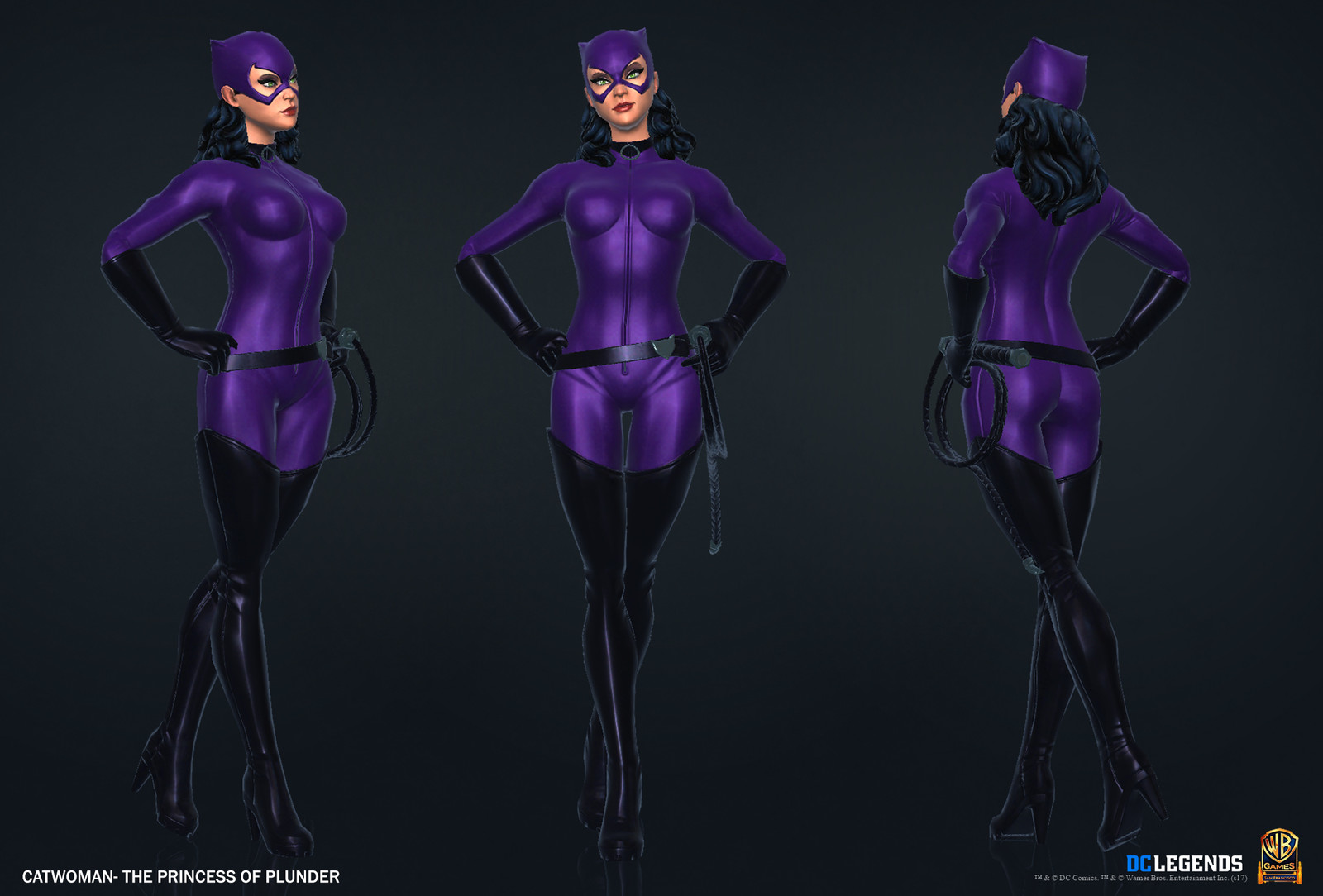 Catwoman Heroic High Poly, Low Poly and Textures/Material work done by me. Additional Texture/Material pass done by Rachelle Danielle.